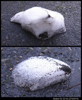 Dark lines in melting snowpiles